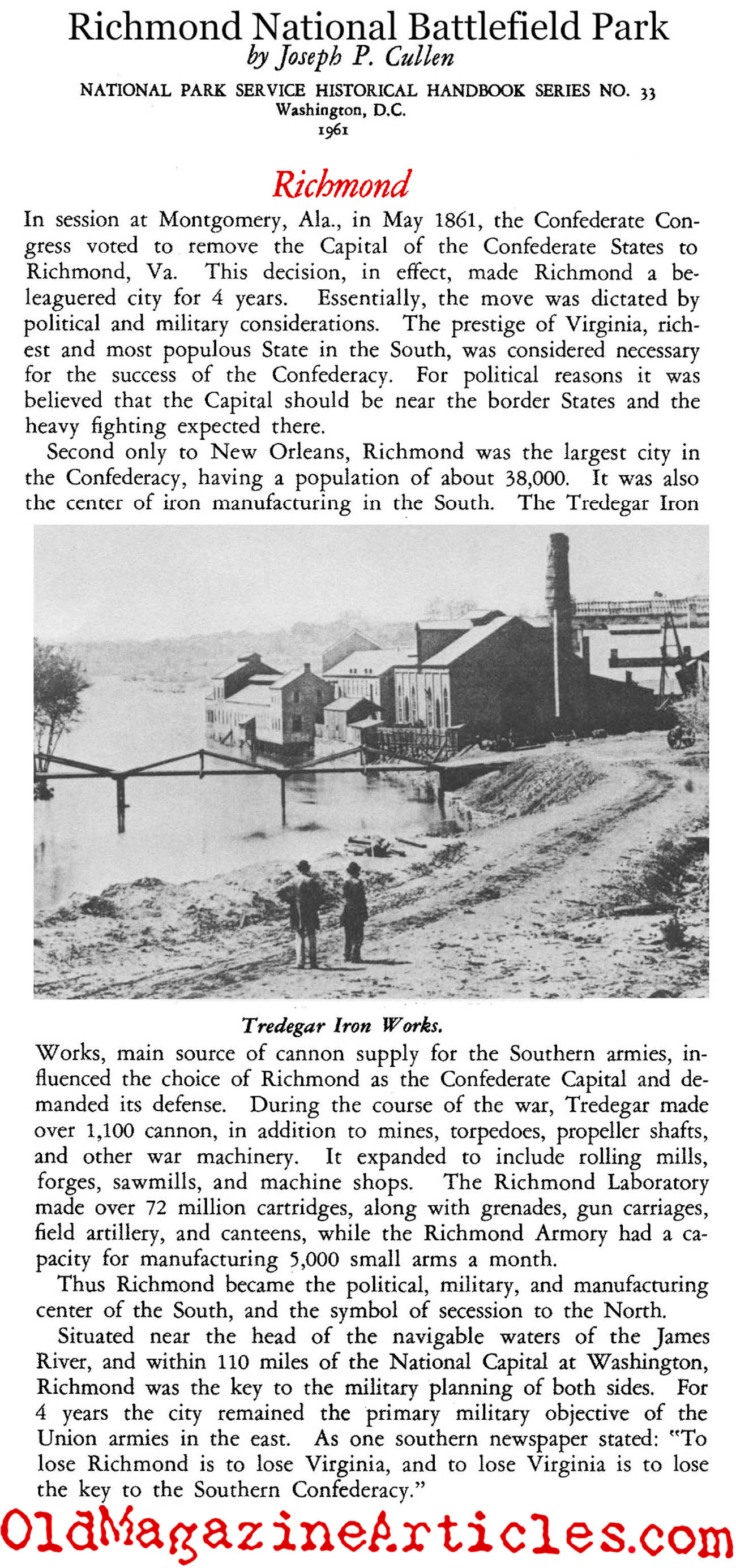Richmond Selected as the Capital of the Confederacy (National Park Service, 1961)