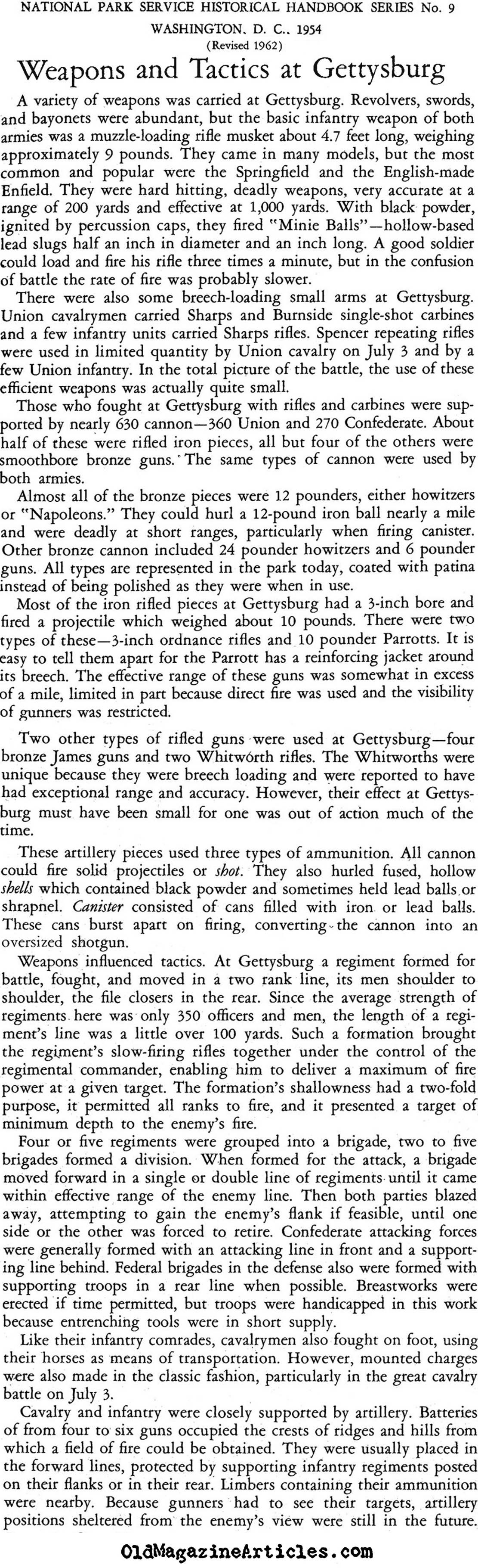 Weapons and Tactics at Gettysburg (National Park Service, 1954)