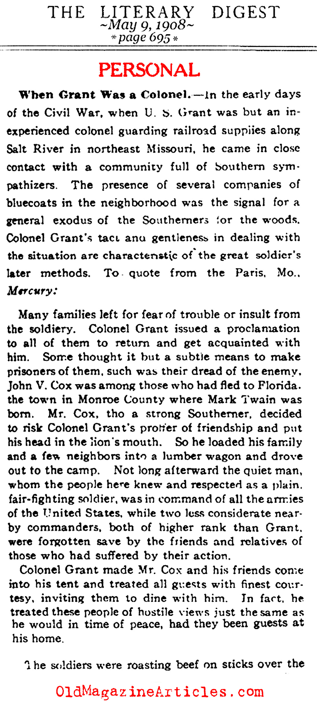When Grant was a Colonel (Literary Digest, 1908)