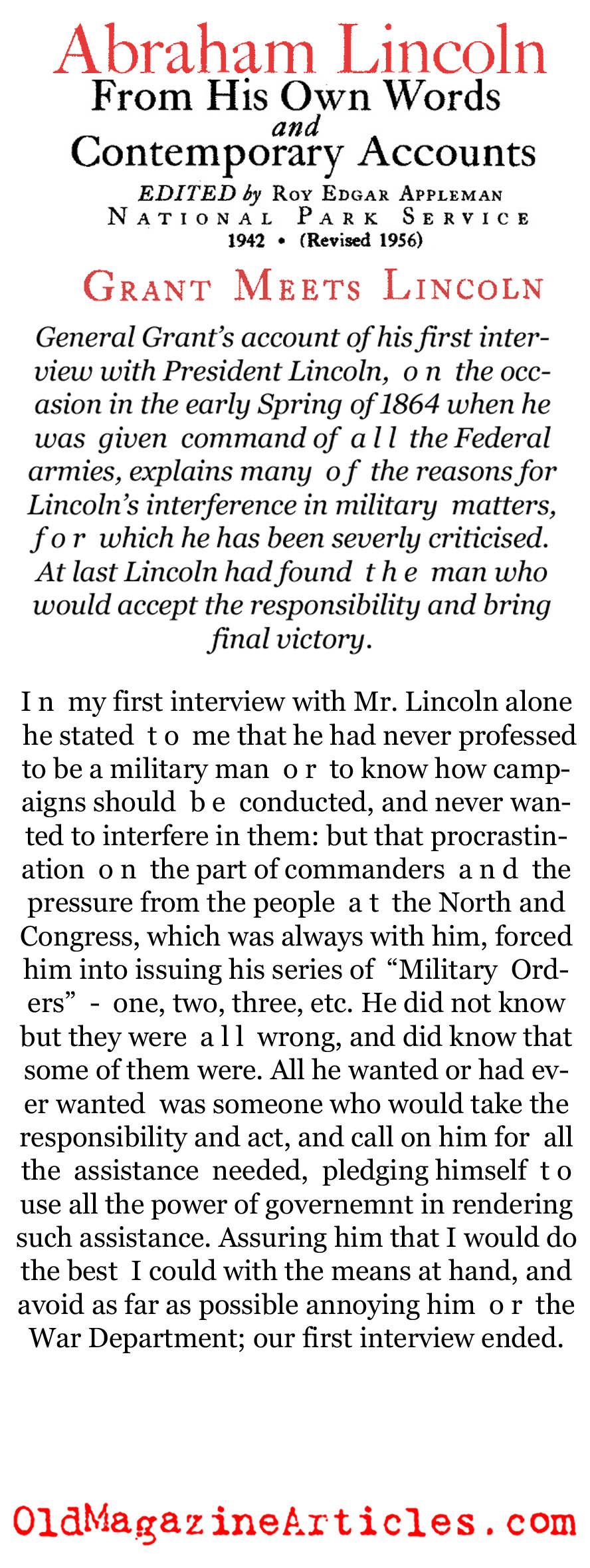 General Grant Recalled Meeting Lincoln (National Park Service, 1956)