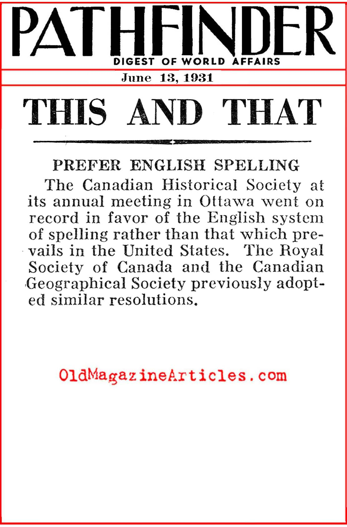 American Spelling Rejected (Pathfinder Magazine, 1931)