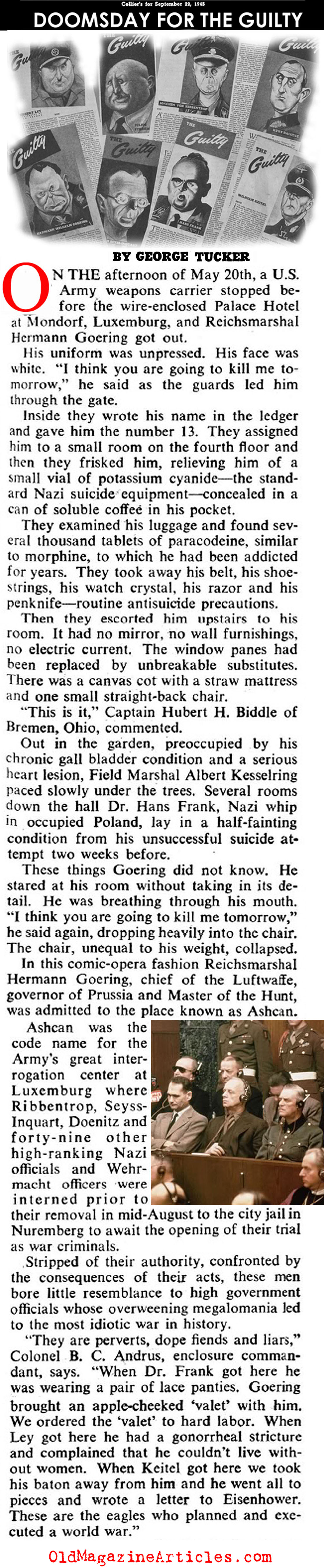 Reichsmarshal Herman Göering Imprisoned (Collier's Magazine, 1946)