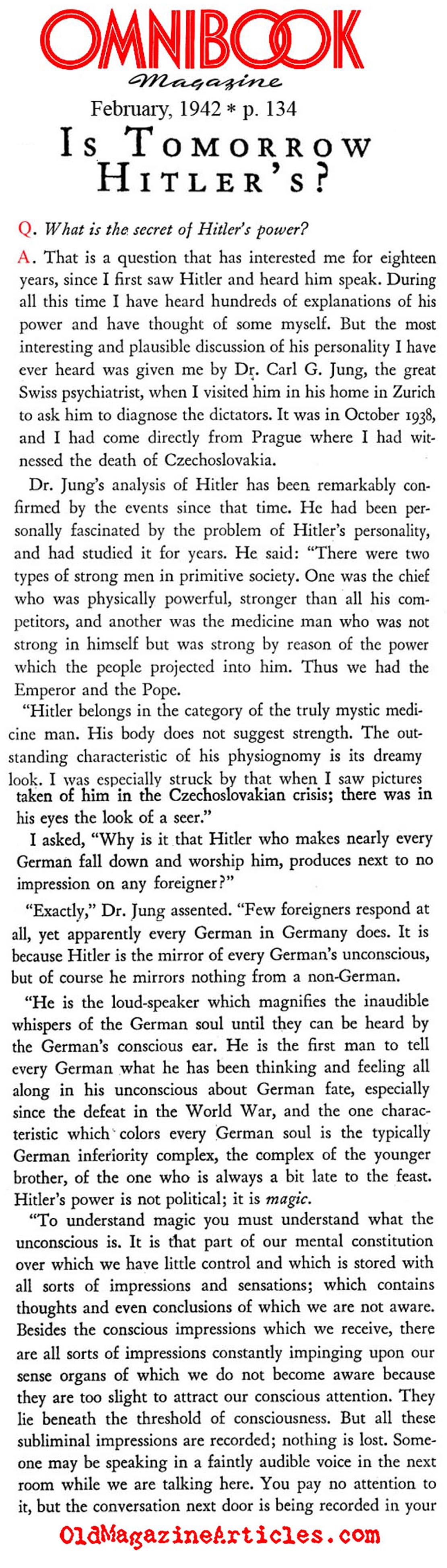 Carl Jung on Hitler (Omnibook Magazine, 1942)