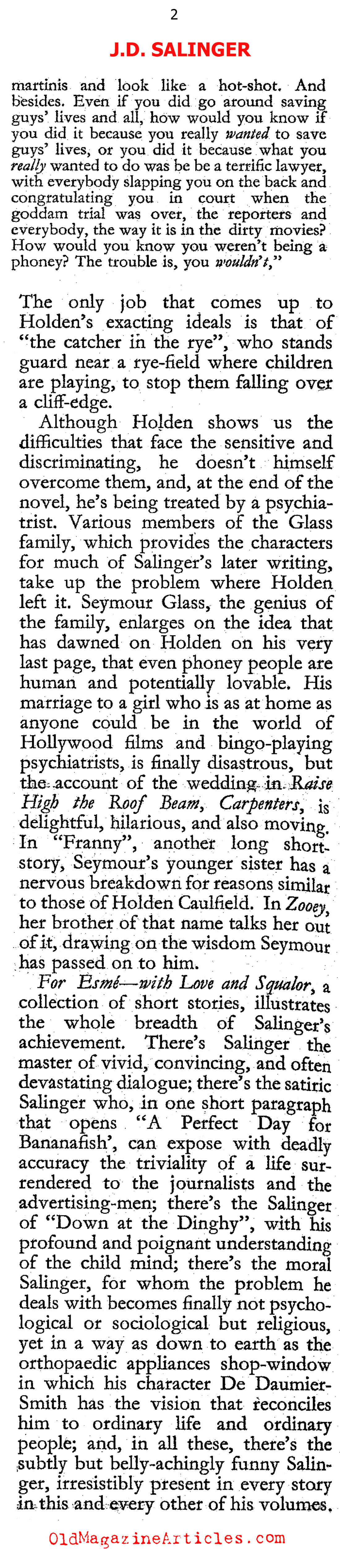 The Work of J.D. Salinger (The Hibbert Journal, 1964)