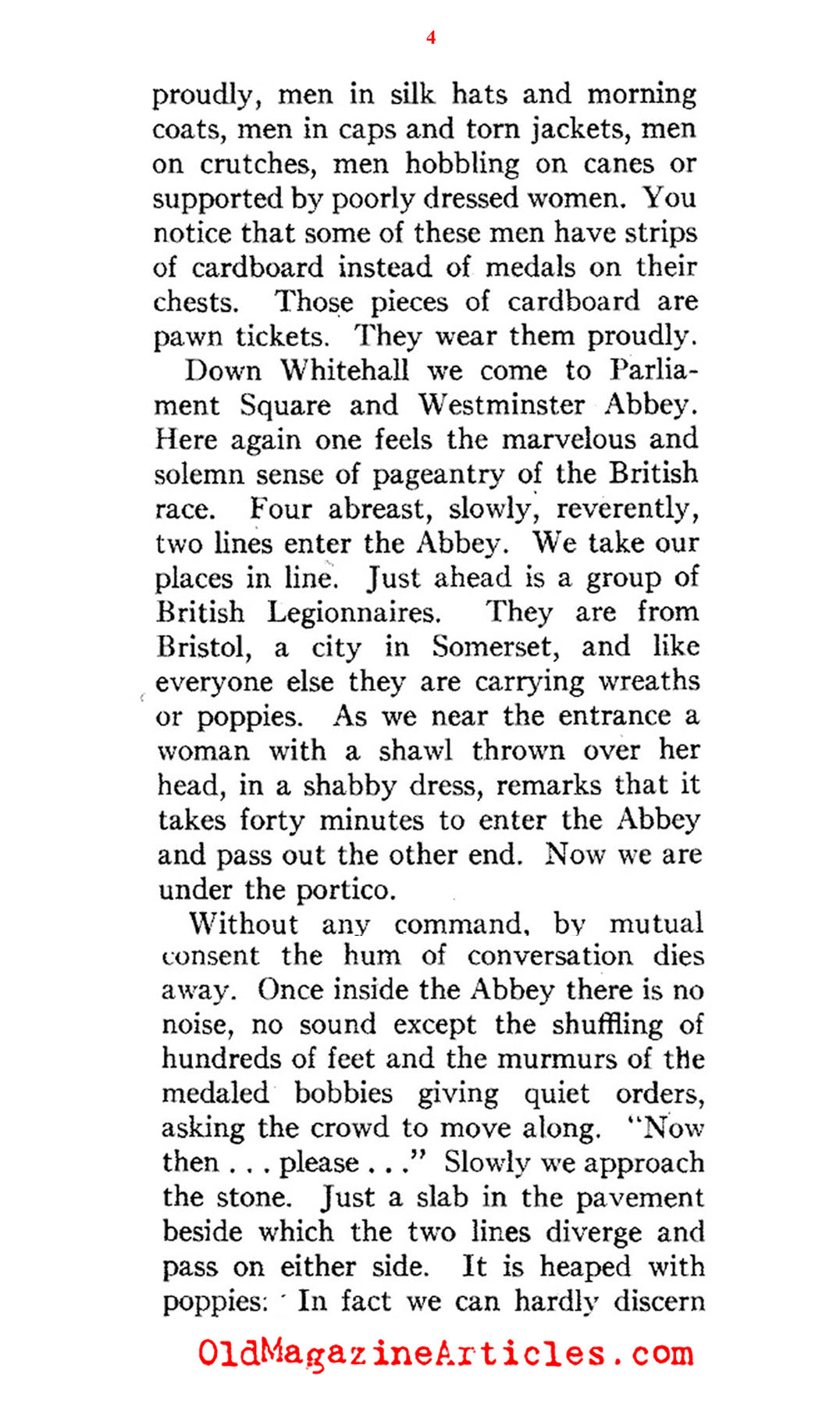 Remembrance Day at the Cenotaph (American Legion Monthly, 1936)