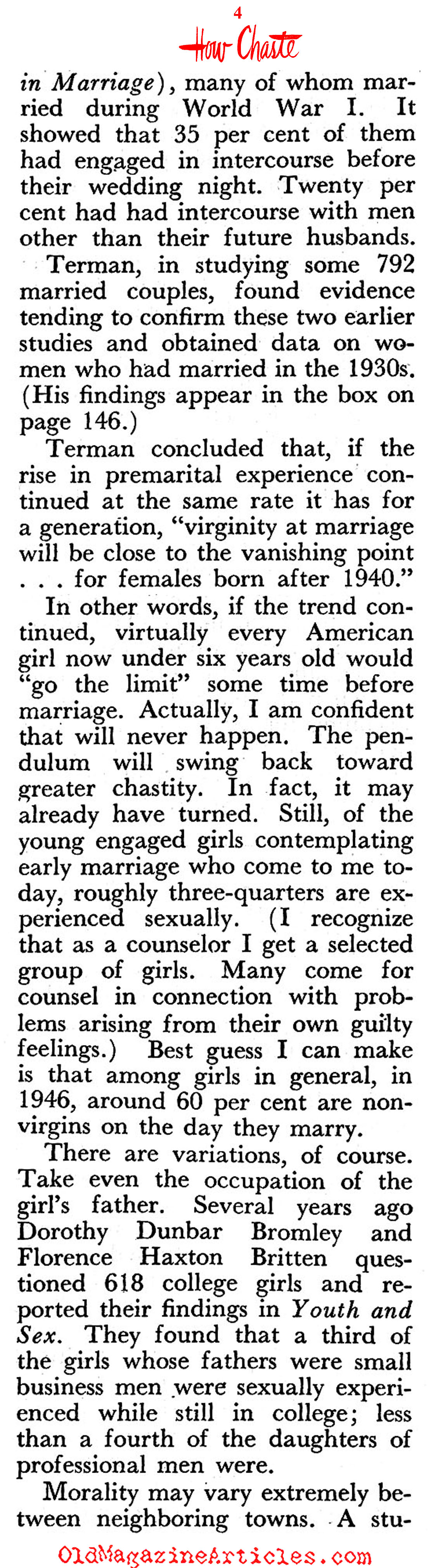The Sex Drive of the American Women (Pageant Magazine, 1946)