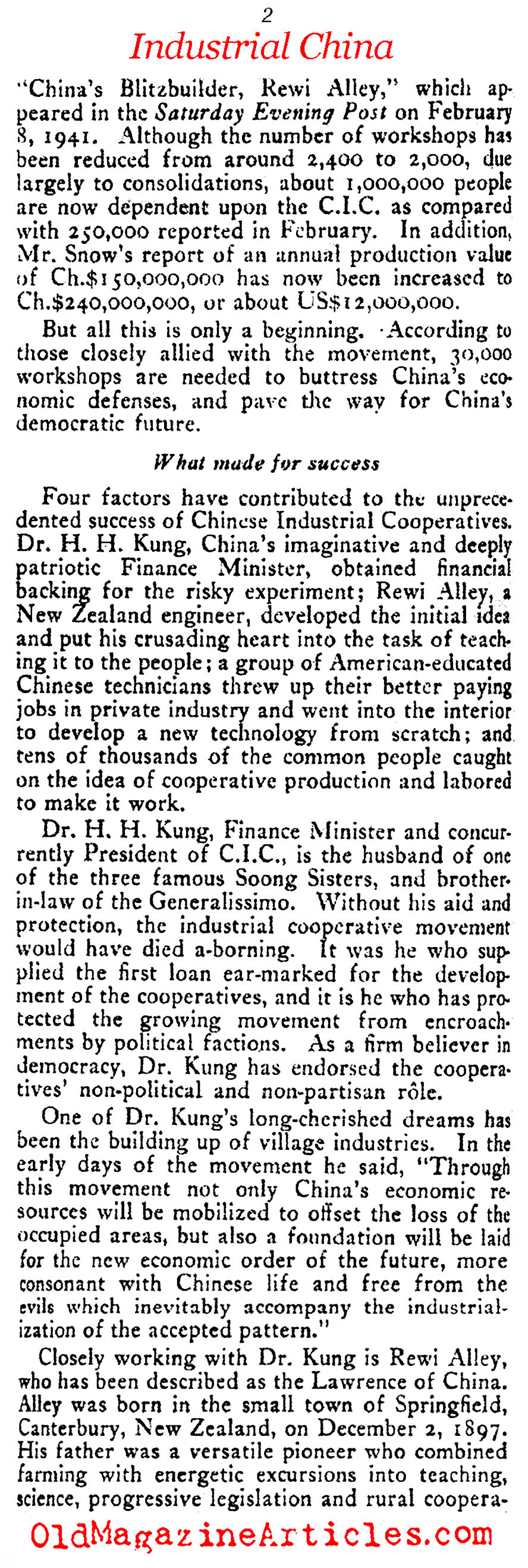 China's Industrial Cooperatives (The Commonweal, 1941)