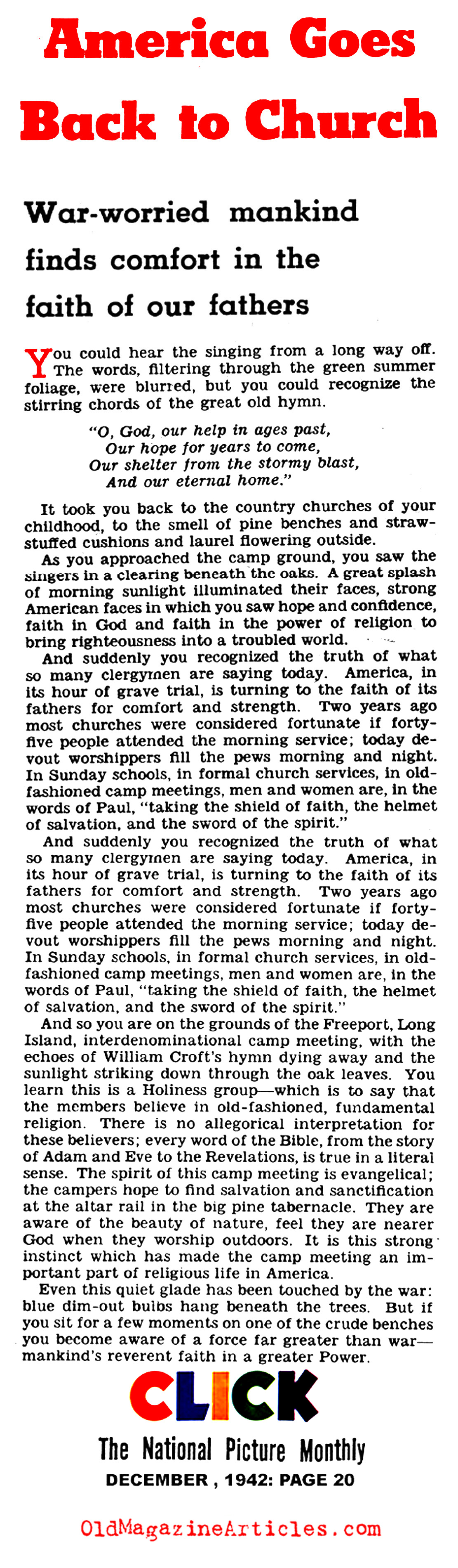 The American Home Front Finds Religion Again (Click Magazine, 1942)