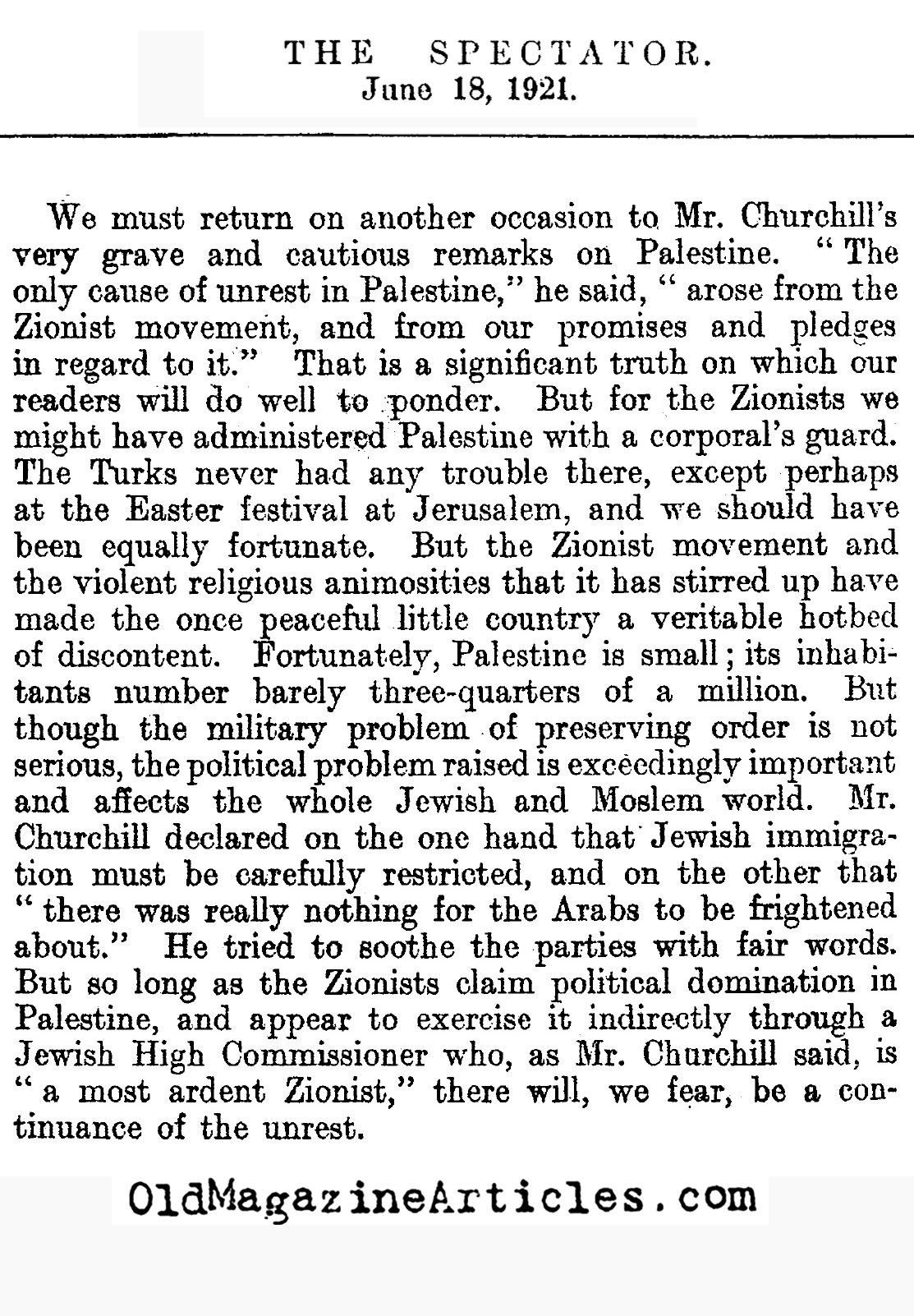 British Attempt to Prevent Jewish Growth of Palestine (The Spectator, 1921)