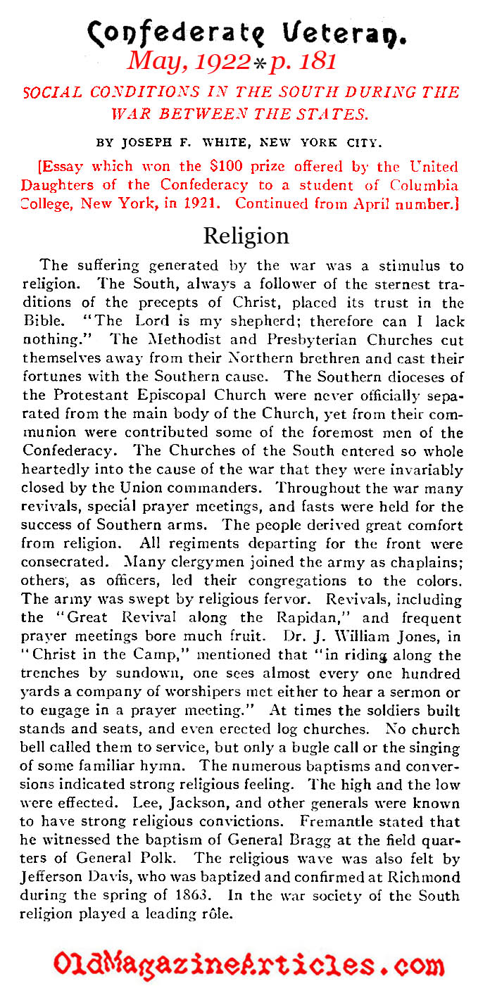 Christianity in the Confederate States (Confederate Veteran, 1922)