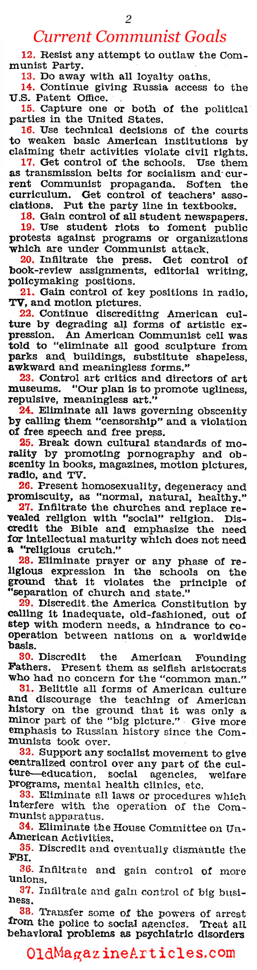 Red Goals For American Society (Congressional Record, 1963)
