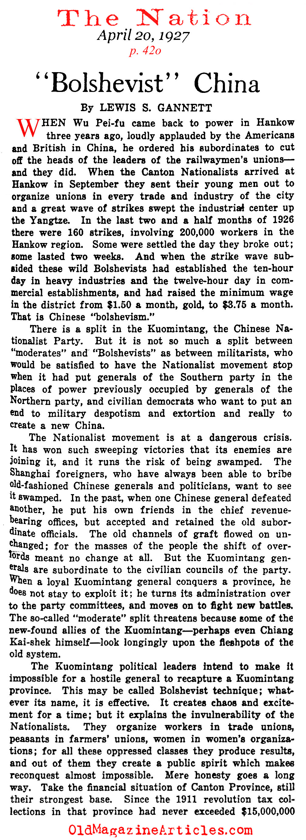 The Roots of Communist China (The Nation, 1927)