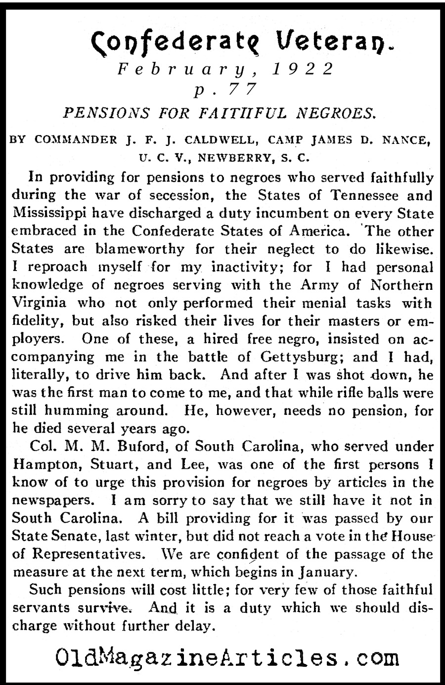 The Black-Confederates (Confederate Veteran Magazine, 1922)