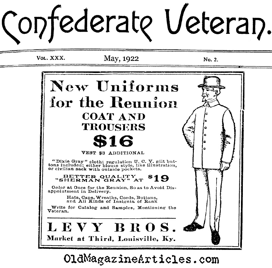 Civil War Reunion Clothing (Confederate Veteran Magazine, 1922)