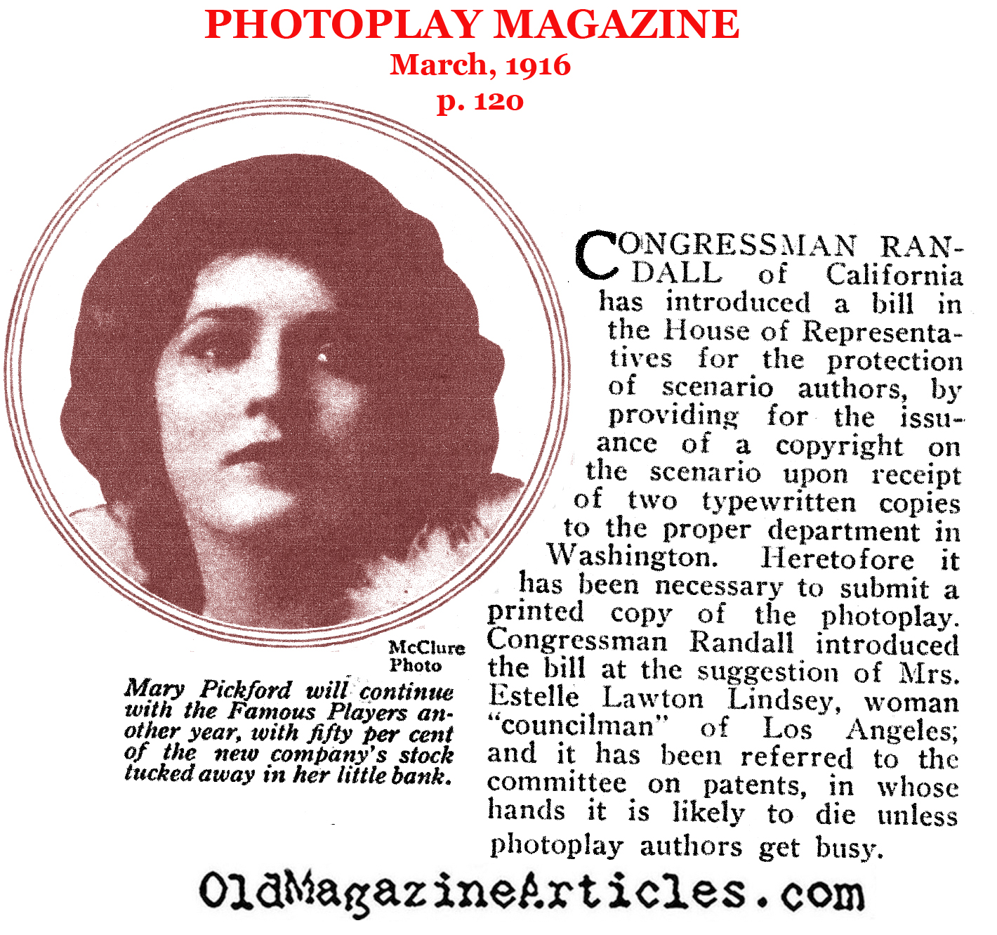 Anti-Plagerism Legislation Introduced (Photoplay Magazine, 1916)