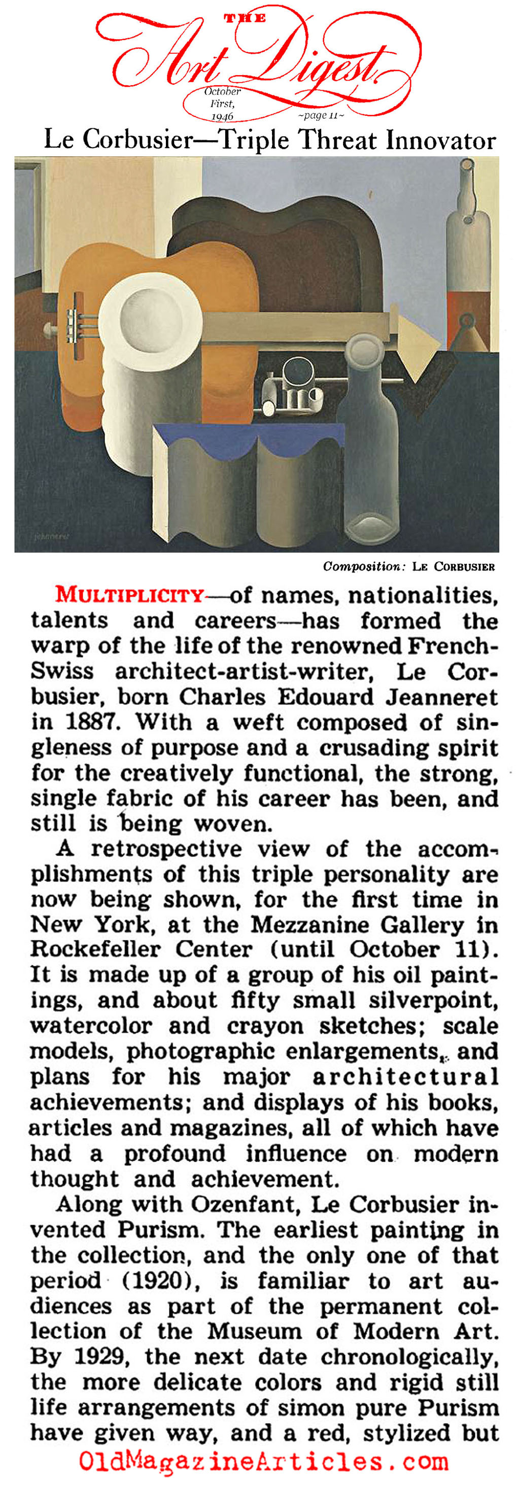 New York Exhibit for Le Corbusier (Art Digest, 1946)