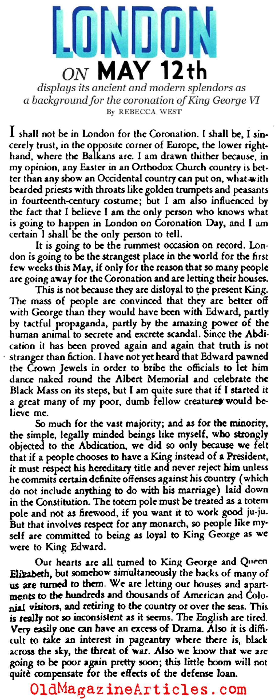 The Coronation of George VI (Stage Magazine, 1937)