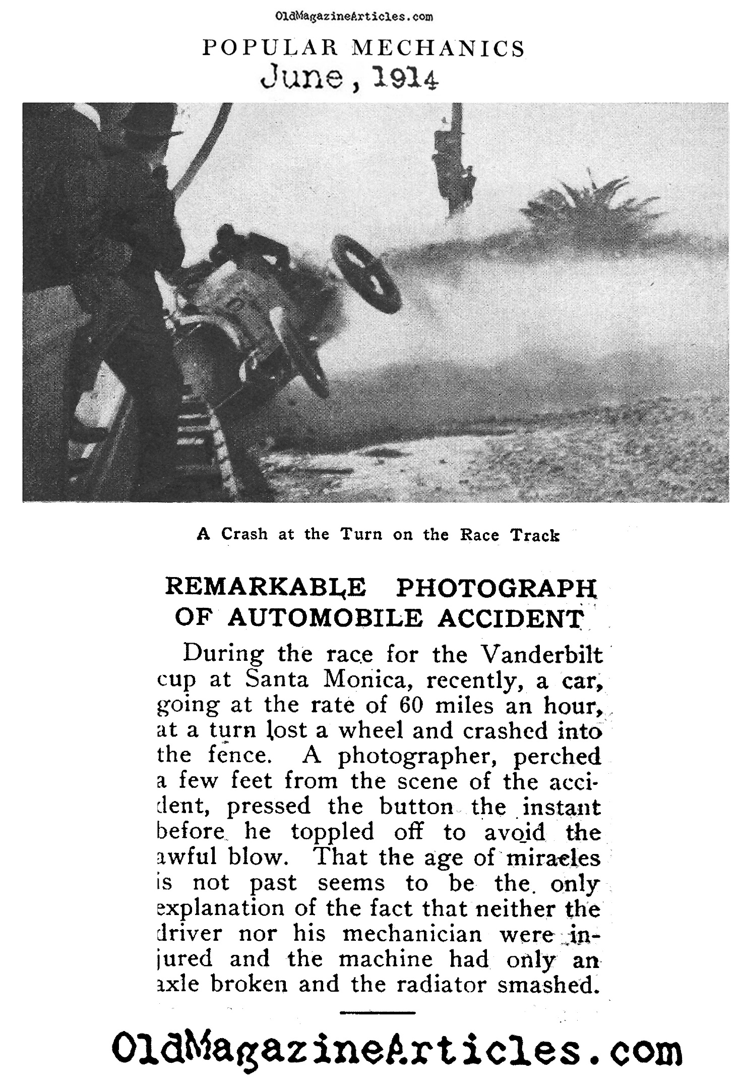 Earliest Car Crash Photograph  (Popular Mechanics, 1914)