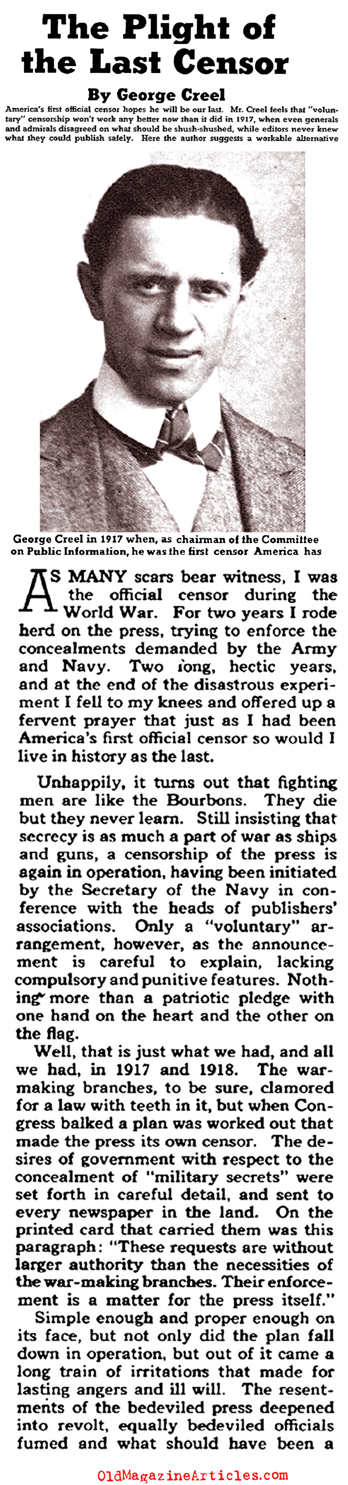 The Failures of W.W. I American Press Censorship (Collier's Magazine, 1941)