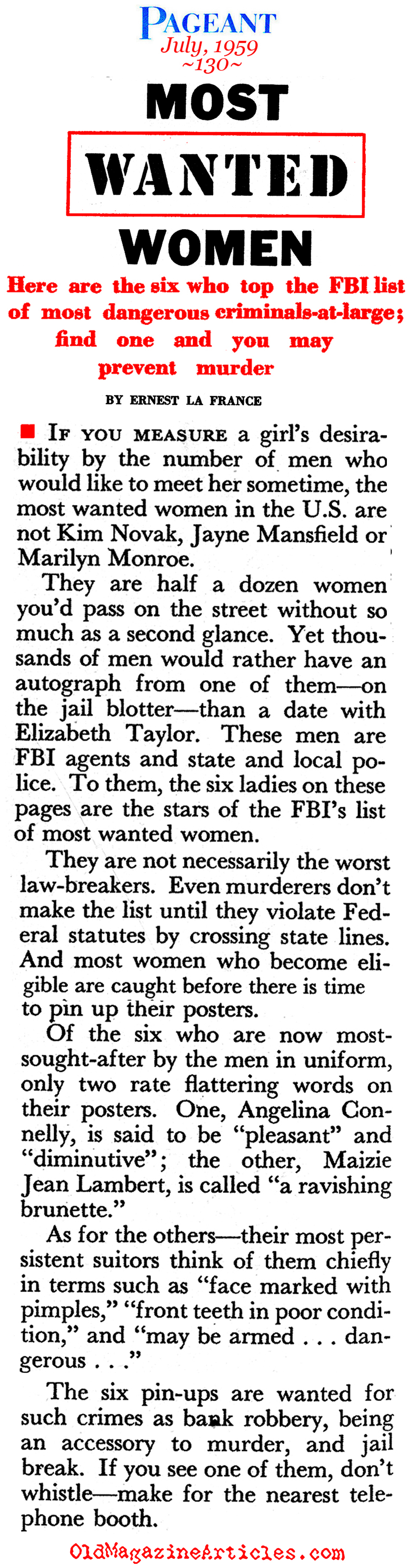 Women Criminals (Pageant Magazine, 1959)