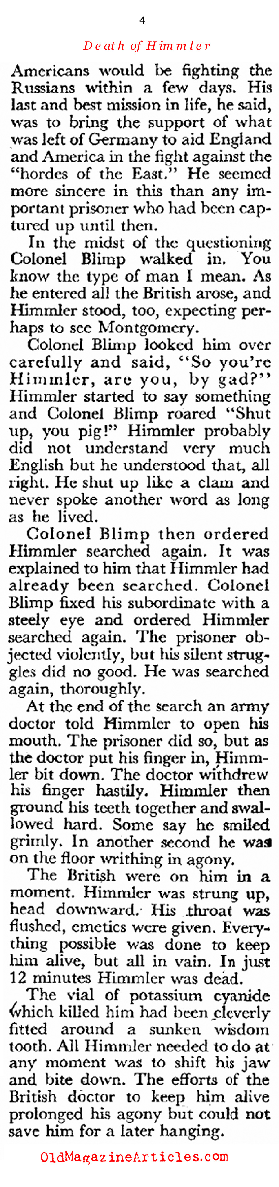 ''The Strange Death of Heinrich Himmler'' (Coronet Magazine, 1947)