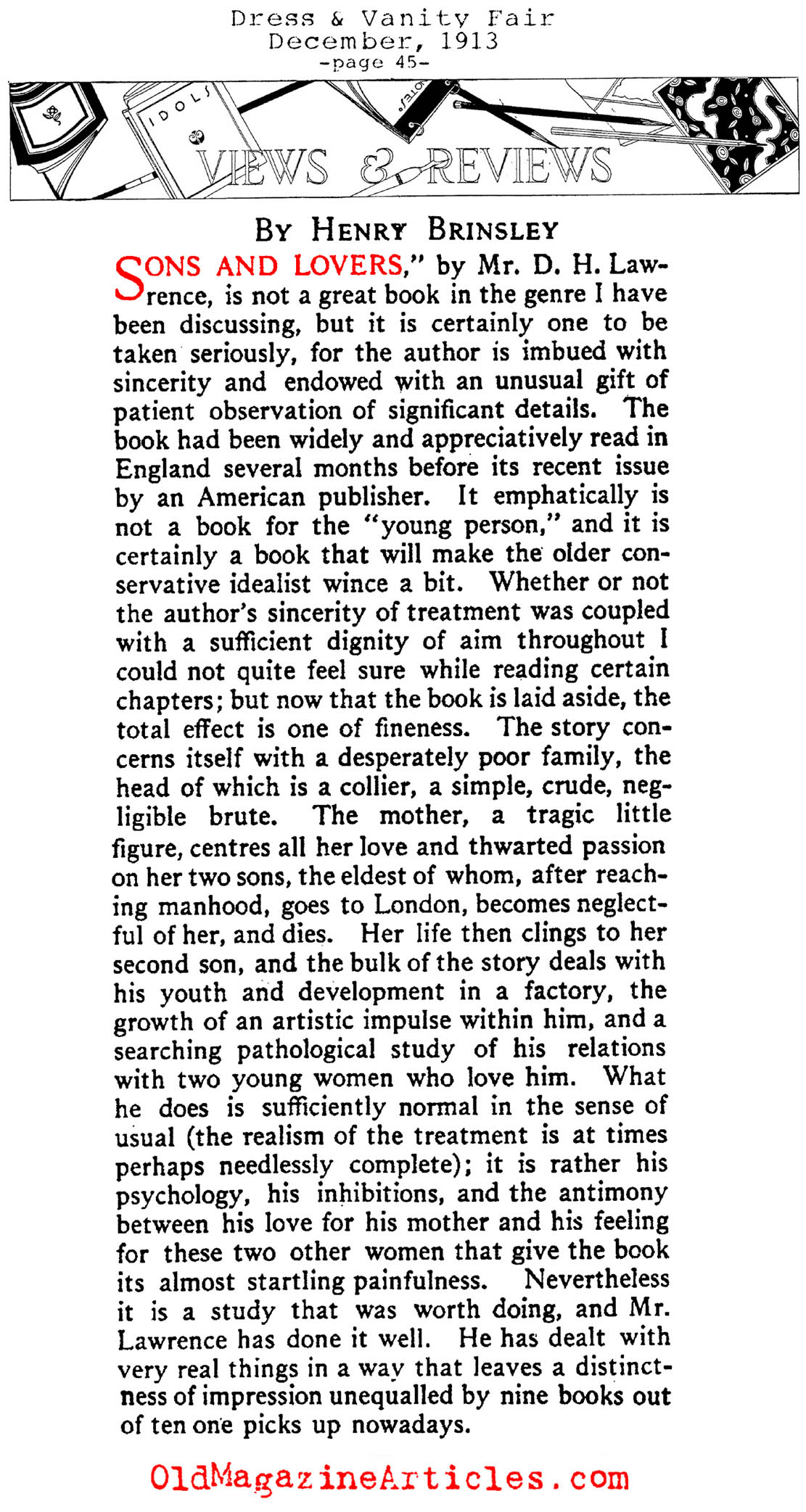 One of the First Reviews of 'Sons and Lovers' (Vanity Fair, 1913)