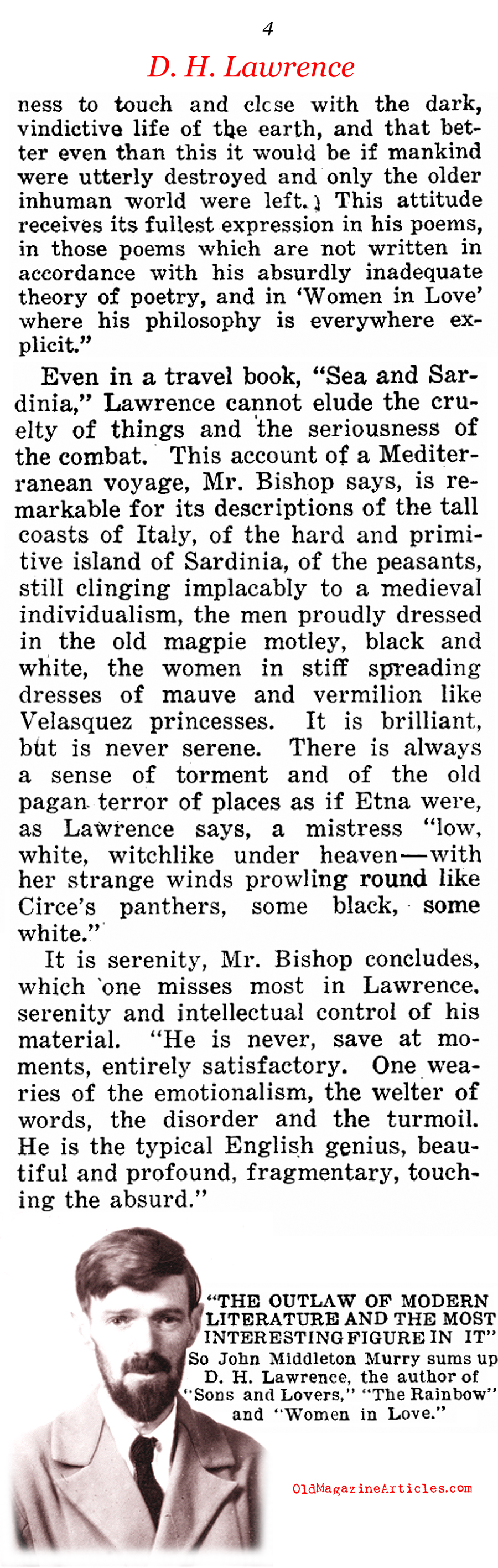 D.H. Lawrence's Genius (Current Opinion, 1922)