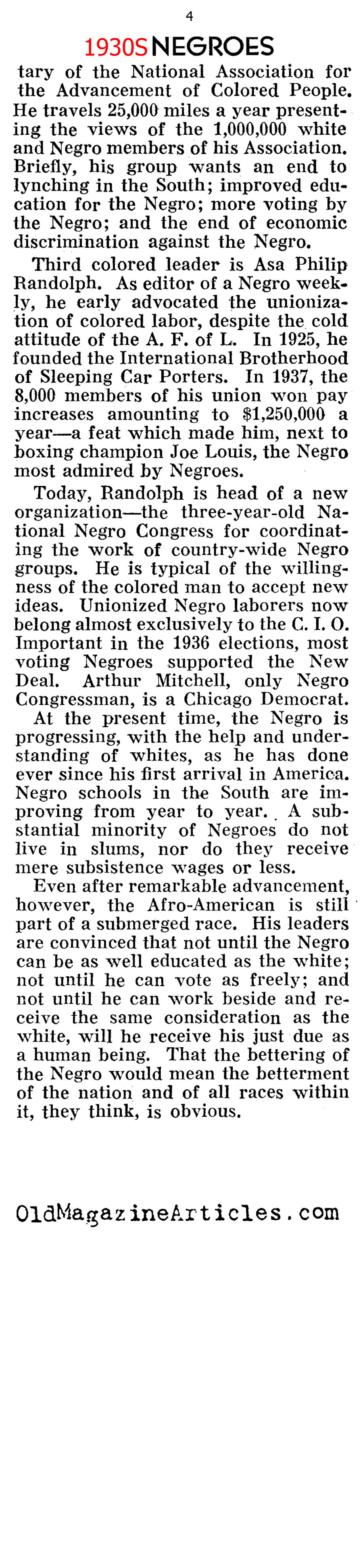 African-Americans During the Great Depression (Pathfinder Magazine, 1939)