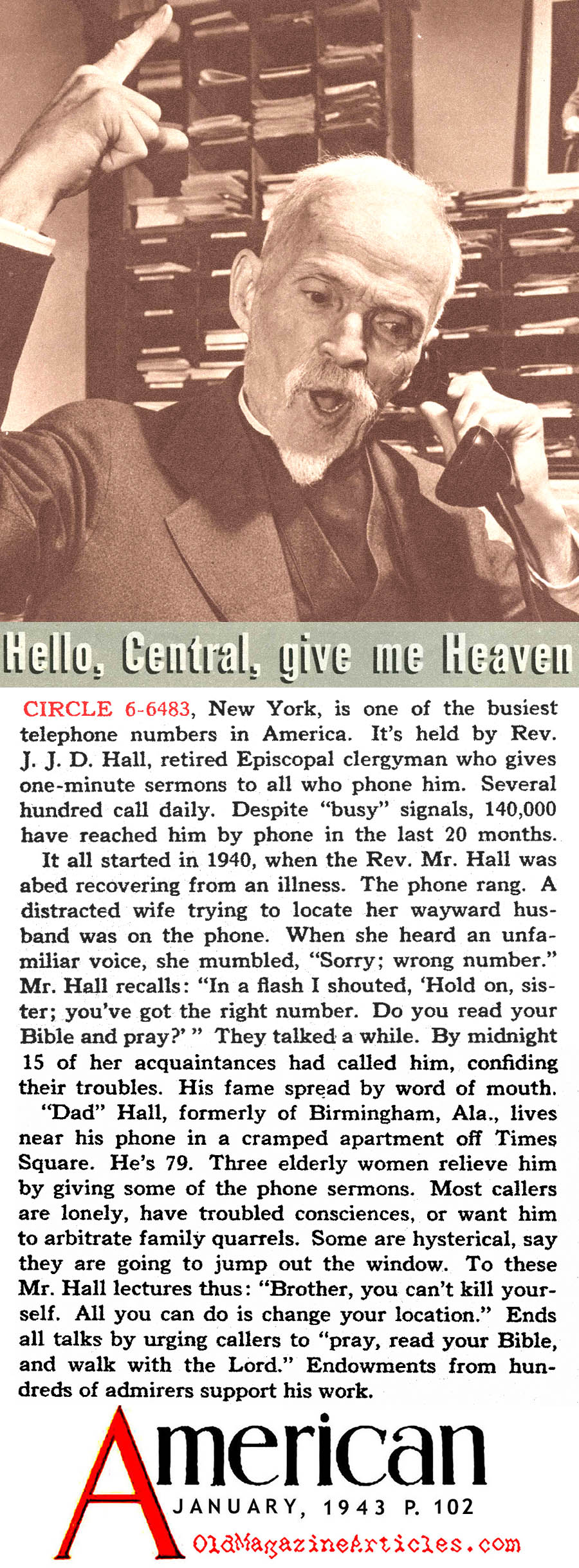''Hello, Central, Give Me Heaven'' (The American Magazine, 1943)