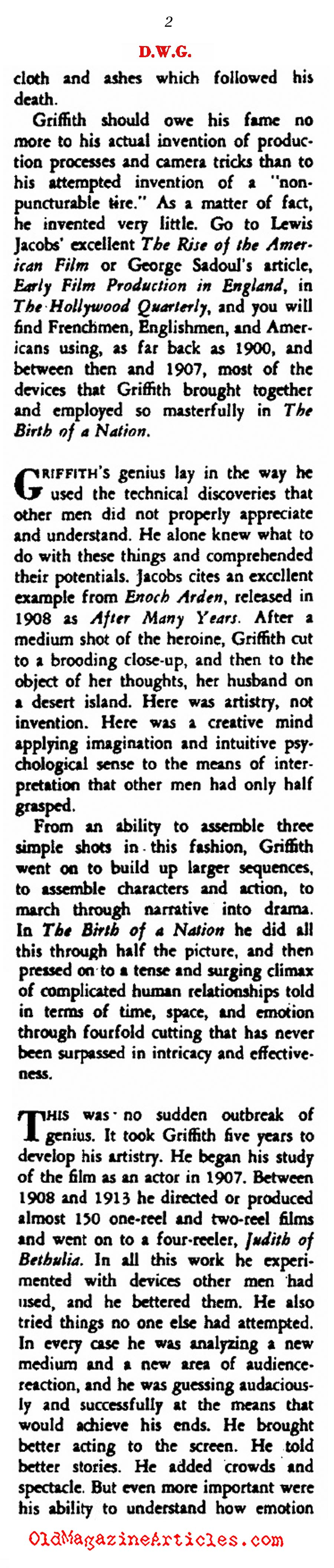 Back-Handed Compliments for D.W. Griffith (Rob Wagner's Script Magazine, 1948)