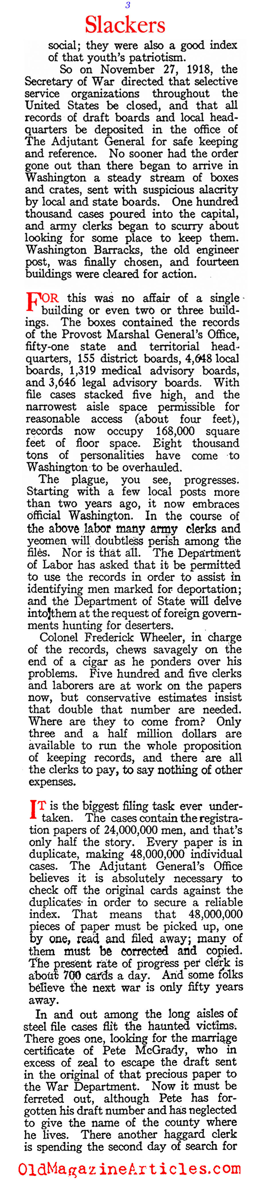 In Search of the W.W. I Draft Dodgers (American Legion Weekly, 1920)