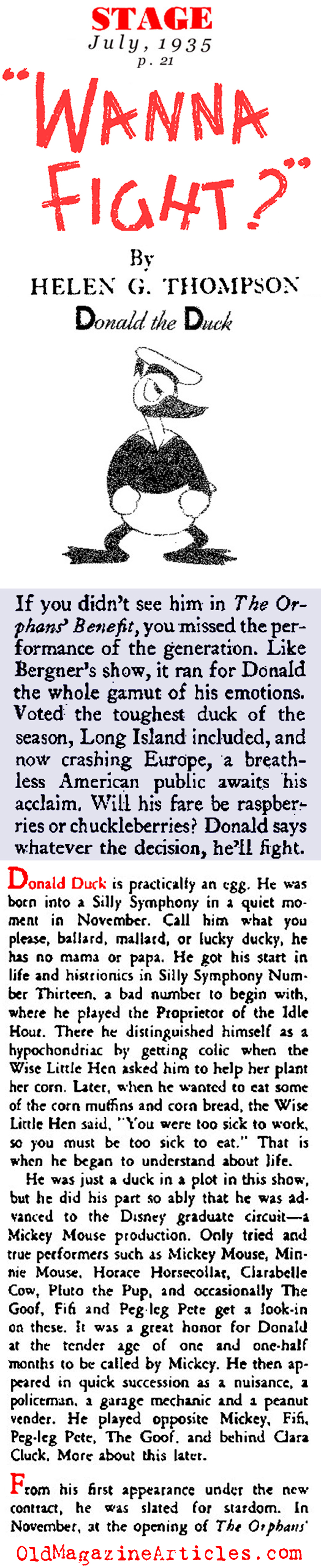The Birth of Donald Duck  (Stage Magazine, 1935)