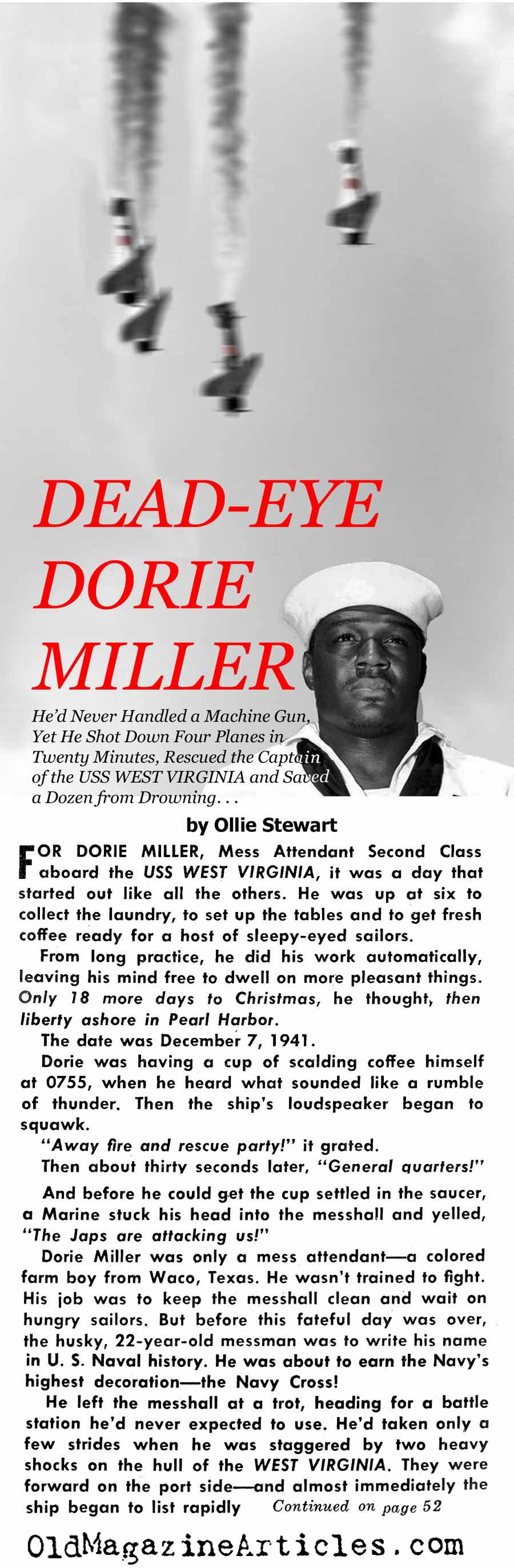 Dorie Miller at Pearl Harbor  (Yank & Bluebook Magazines, 1944 & '62)