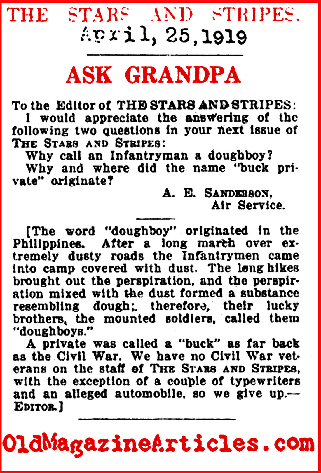 Origin of the Word  'Doughboy'   (The Stars and Stripes, 1919)
