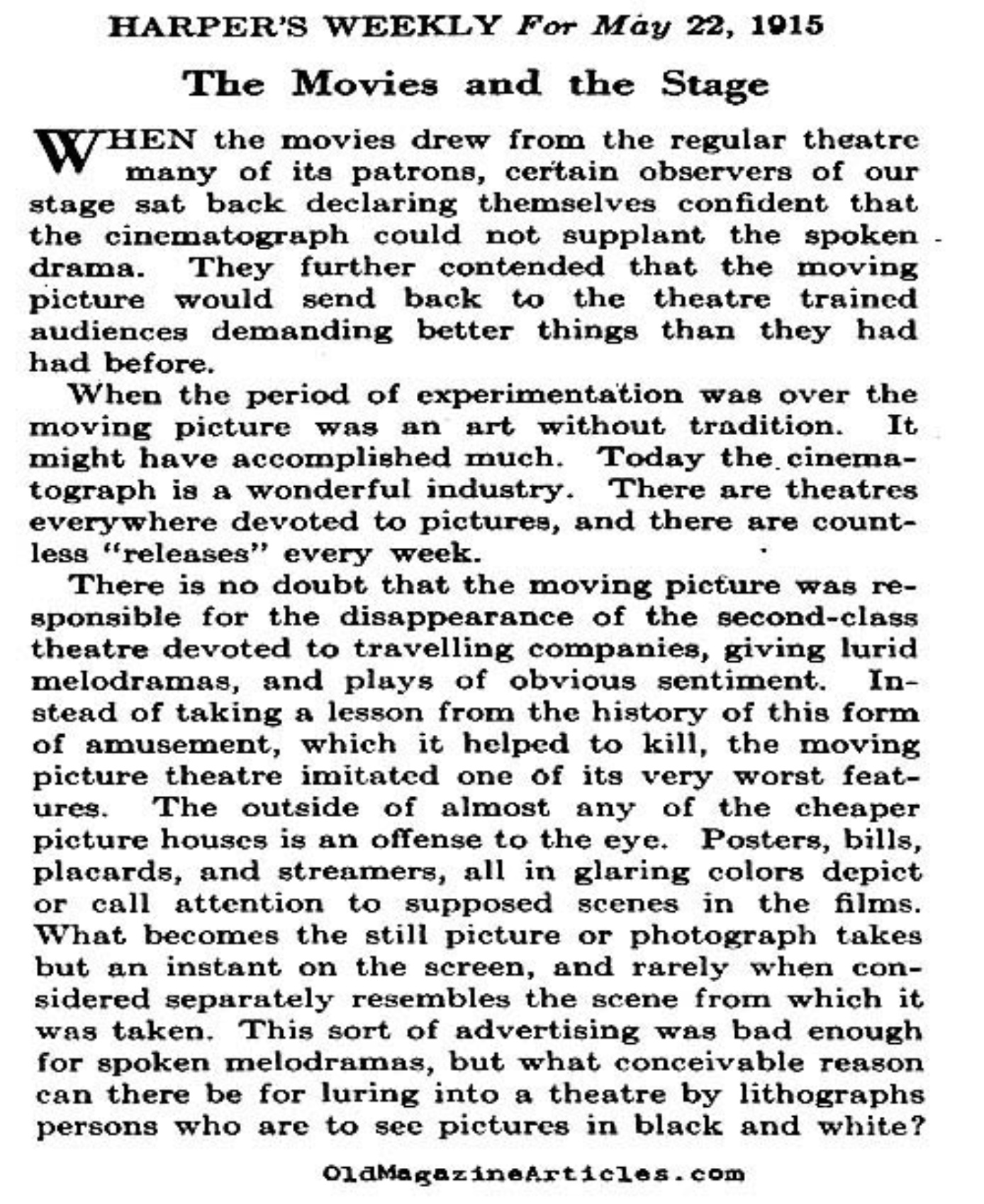 Stage Productions Must Compete With Movies   (Harper's Weekly, 1915)