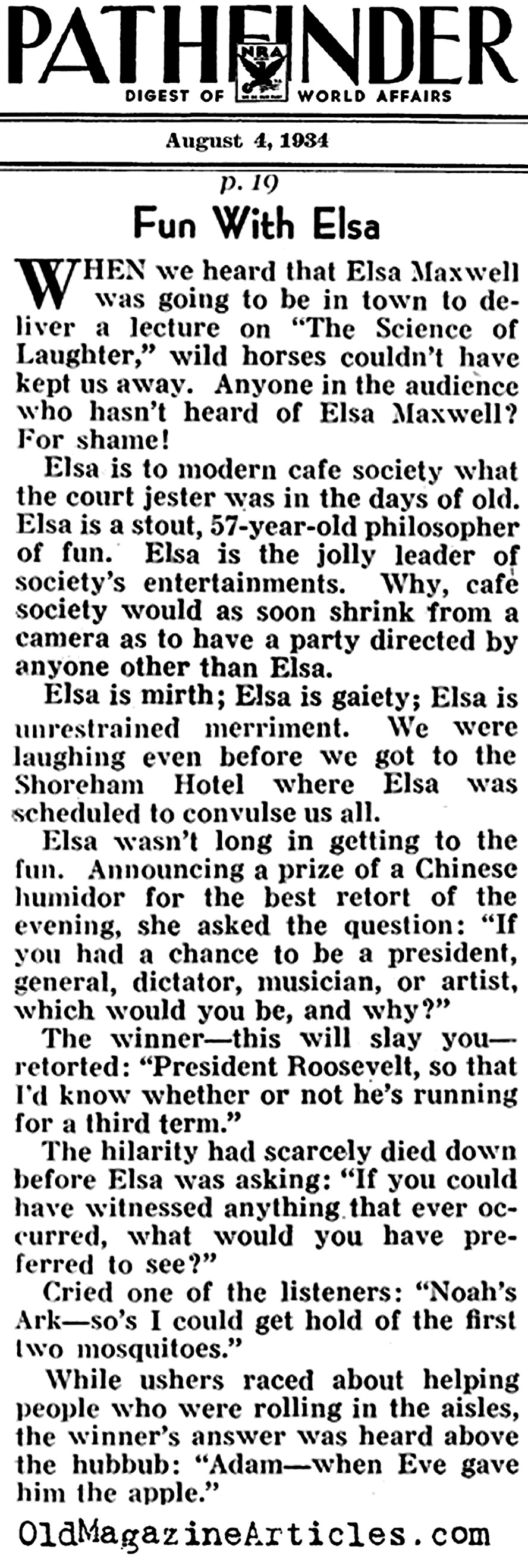 Elsa Maxwell: Life of the Party (Pathfinder Magazine, 1940)