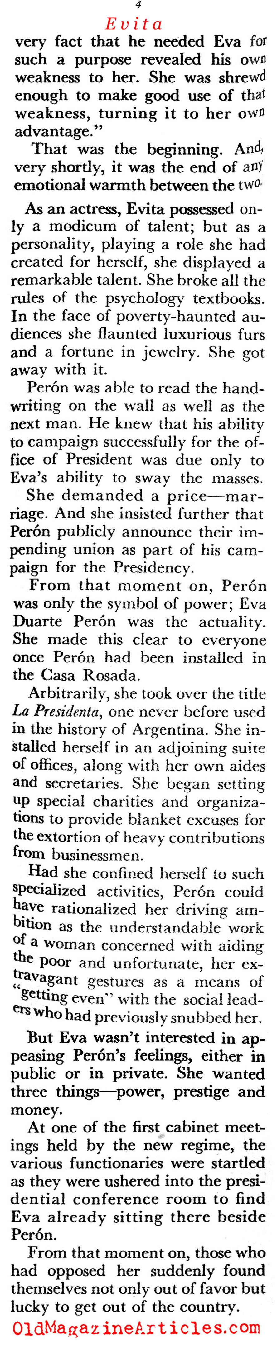 Meet the Perons (Coronet Magazine, 1956)