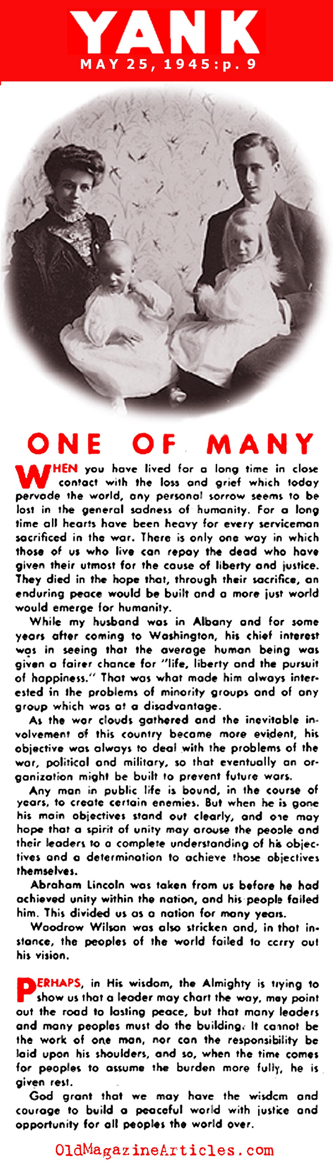 Eleanor Roosevelt on the Death of FDR (Yank Magazine, 1945)
