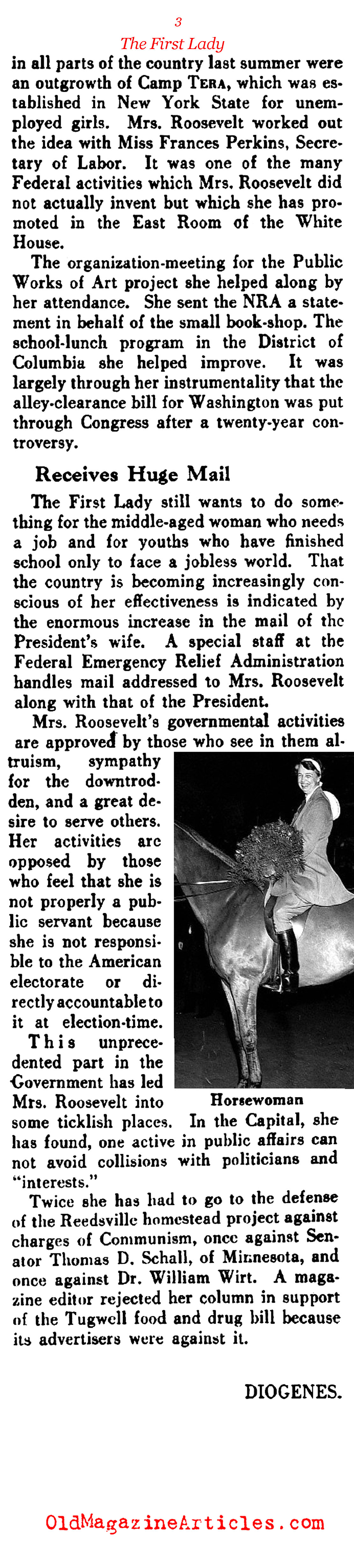 Eleanor Roosevelt Was a Very Different First Lady  (The Literary Digest, 1933)