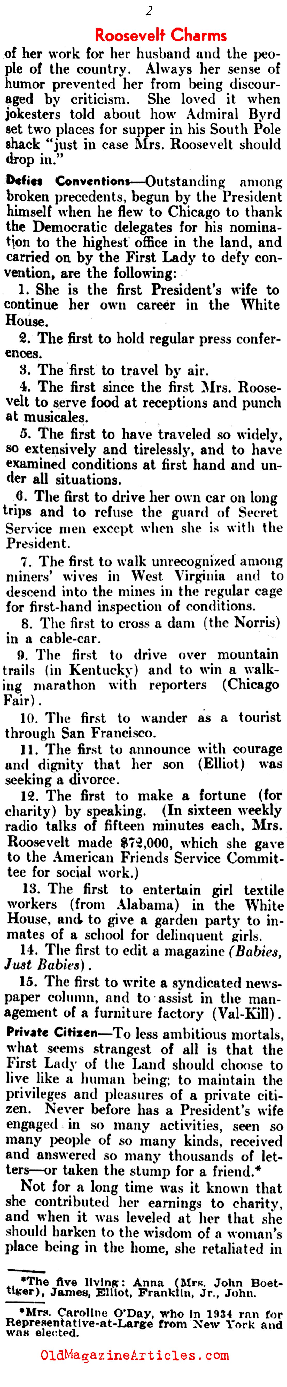Eleanor Roosevelt and Her Many Firsts (The Literary Digest, 1937)
