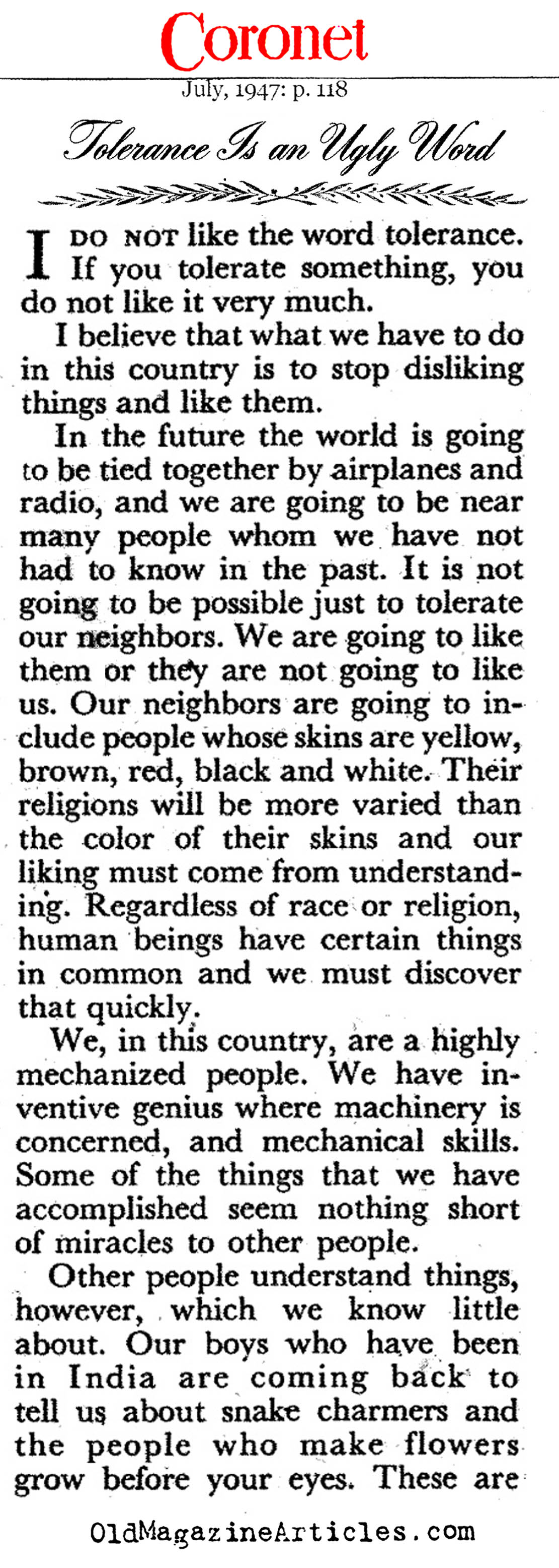 tolerance is an ugly word by eleanor roosevelt what is so great   tolerance is an ugly word coronet magazine 1945