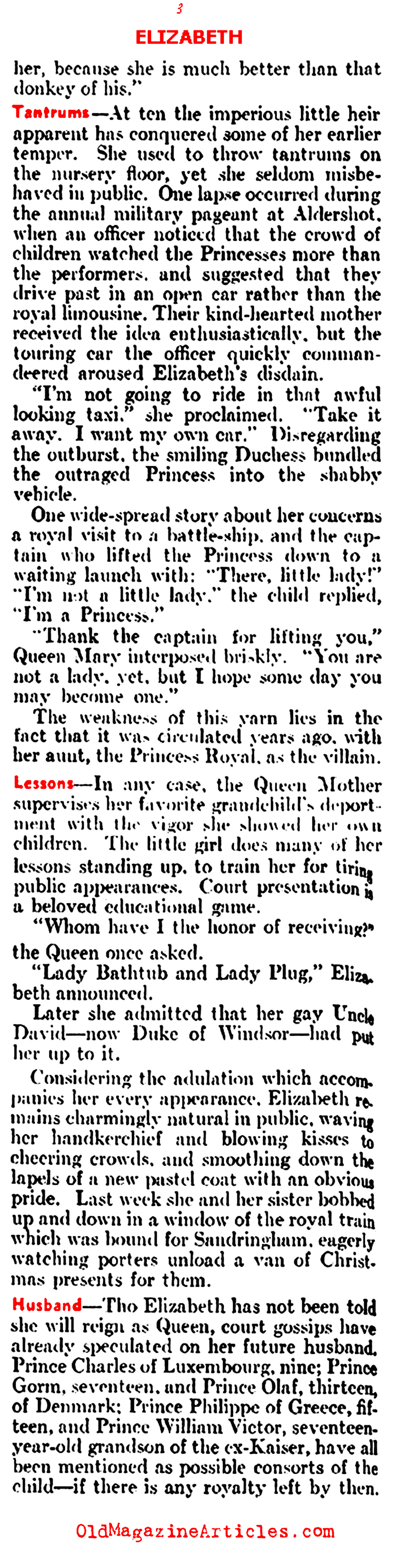 Anticipating Elizabeth II (Literary Digest, 1937)