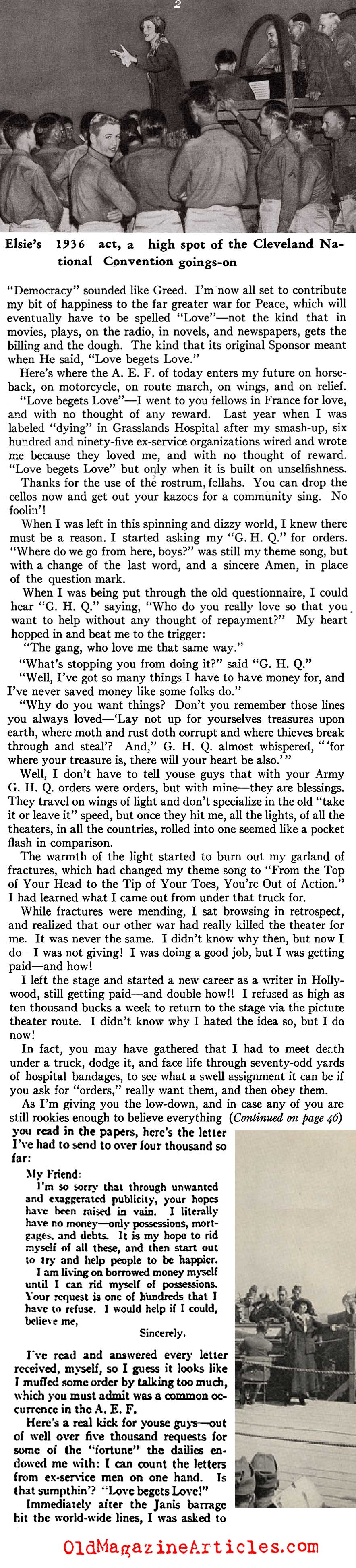 Elsie Janis Entertained the Doughboys  (American Legion Monthly, 1936)
