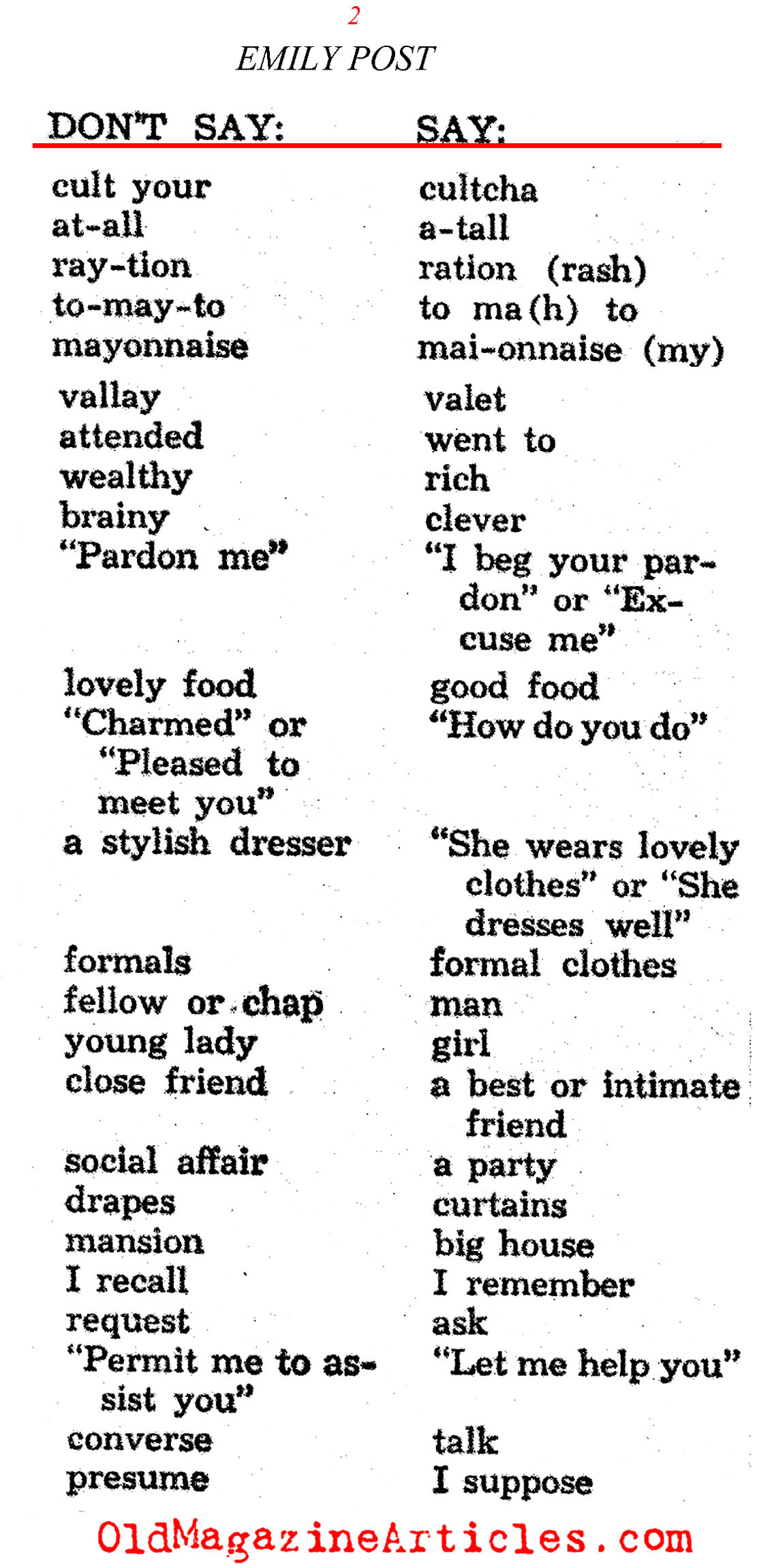 Emily Post on Society Language (Photoplay Magazine, 1939)