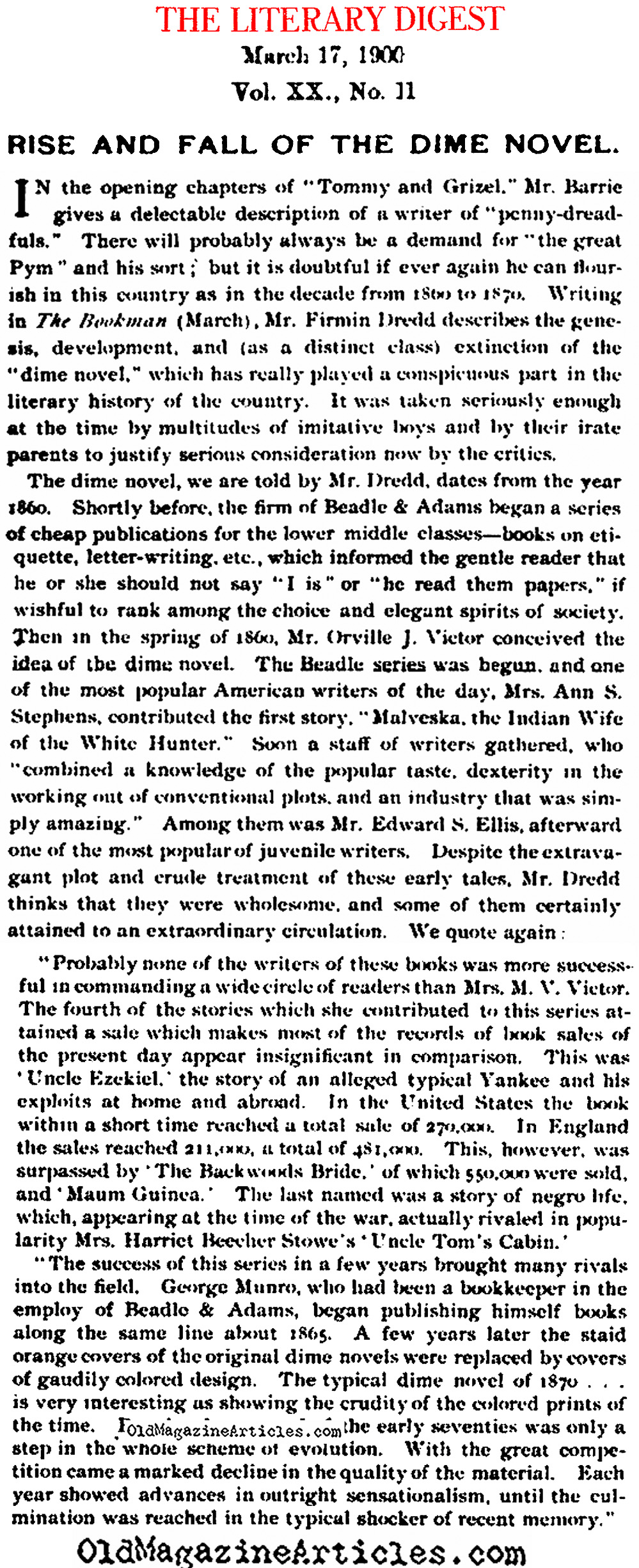 ''Rise and Fall of the Dime Novel'' (Literary Digest, 1900)