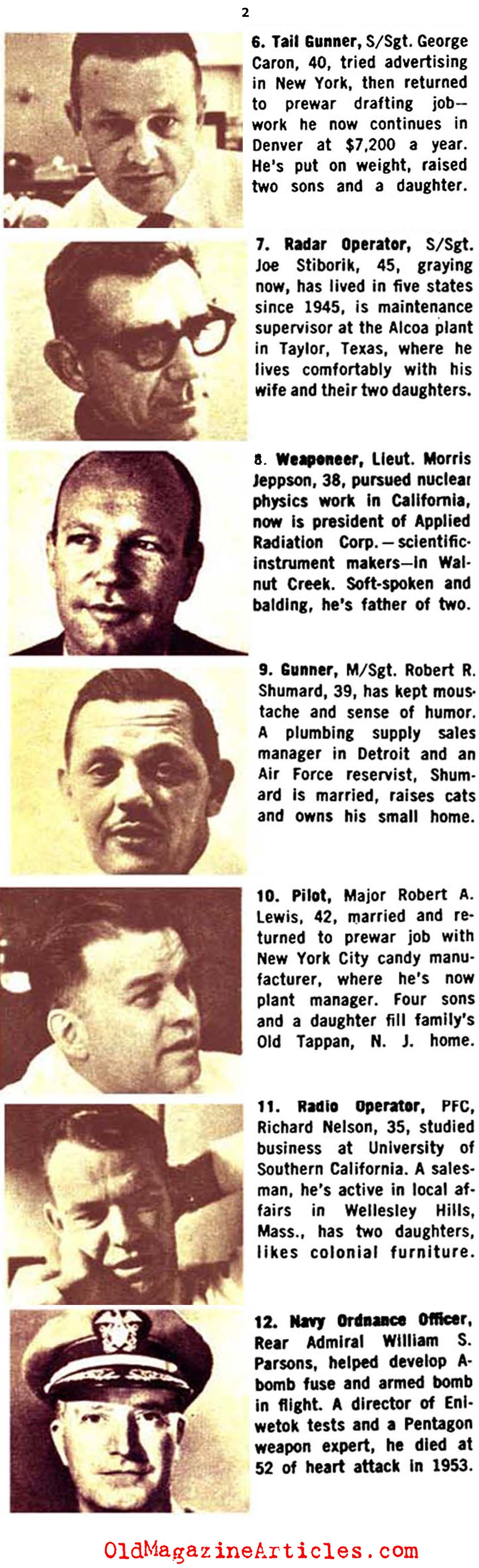 The Crew of the Enola Gay Fifteen Years Later   (Coronet Magazine, 1960)