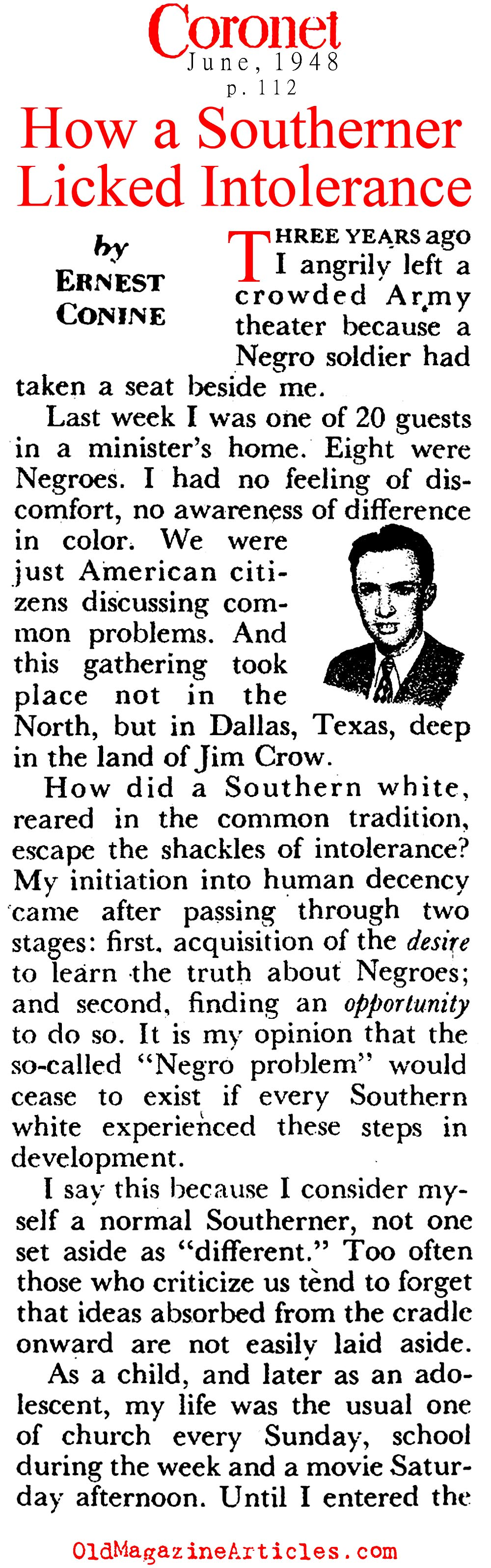 How a Southerner Overcame His Racist Attitudes  (Coronet Magazine, 1948)
