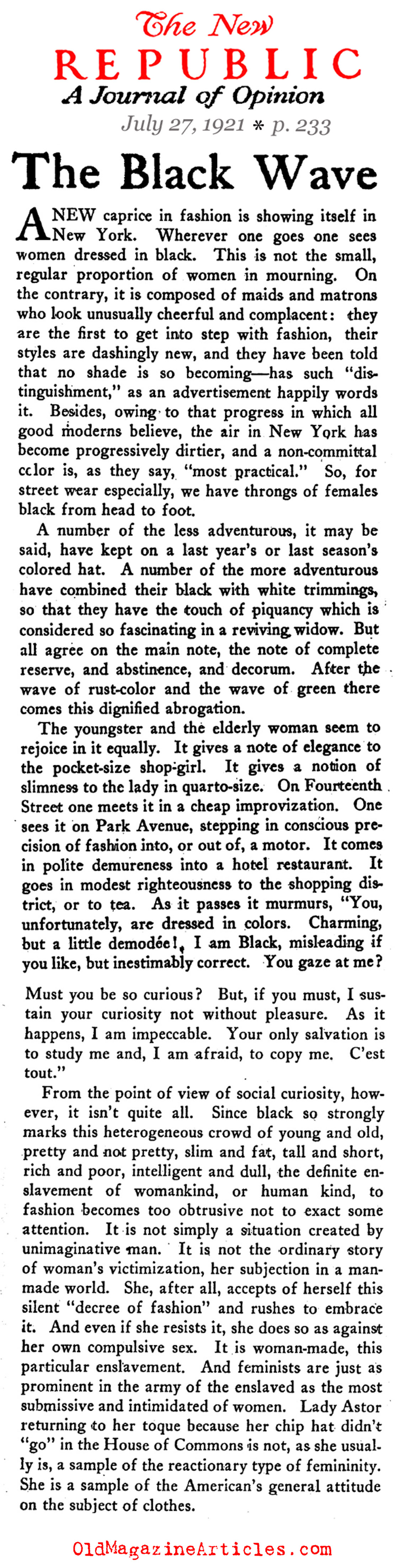 The Black Dress Arrives (The New Republic, 1921)