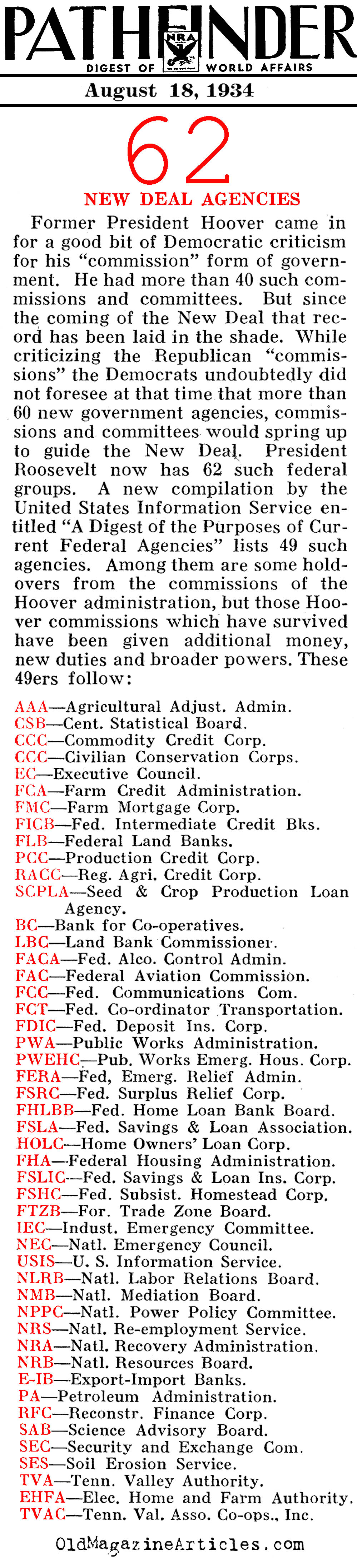 FDR's Alphabet Agencies (Pathfinder Magazine, 1934)