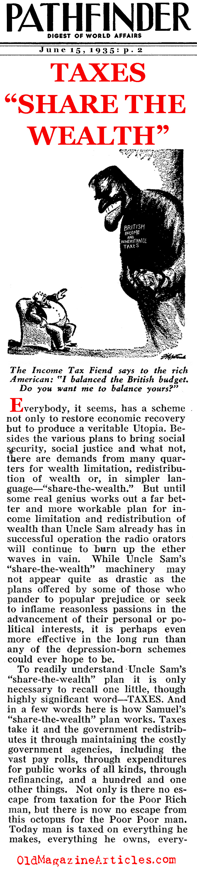 Distributing the Nation's Wealth... (Pathfinder Magazine, 1935)